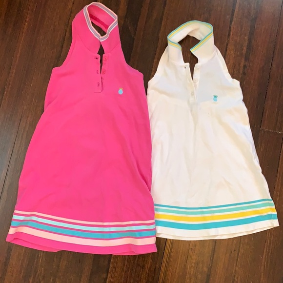 Set of two matching girls collared dresses